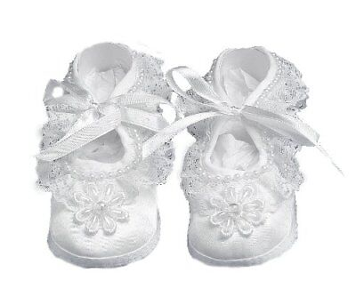 Lauren Madison Baby girl Christening Baptism Satin Shoes With Hand Made Pearl...