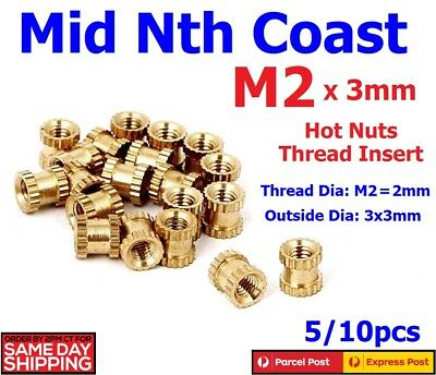 5/10pcs M2x3mm Hot Nuts Brass Thread Inserts 3D Printing/Injection Moulding