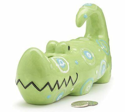 Whimsical Alligator Piggy Bank with Blue and Green Circles and Dots Great Sav...