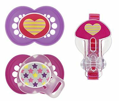 MAM Trends Orthodontic Pacifier with Clip Value Pack Girl 6+ Months 2-Count