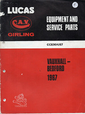 1967 Vauxhall/Bedford Lucas Fully Illustrated Equipment &Parts 34 Page Catalogue