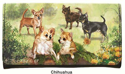 New Chihuahua Dog Check Book Wallet with Zipper 5 Chihuahuas Pet Dogs Pets