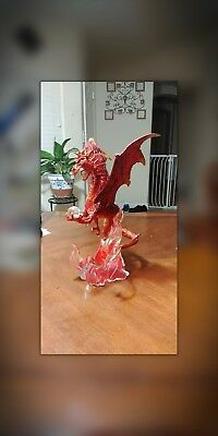 Rare Franklin Mint Guardian Of Fire Crystal Red Dragon Sculpture