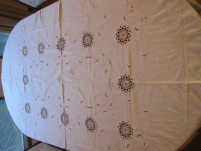 Vintage Tablecloth Cream Embroidered 202 x 162 cm