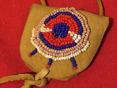 Rare Very Old Native American Indian Beaded Medicine Man Leather Bag