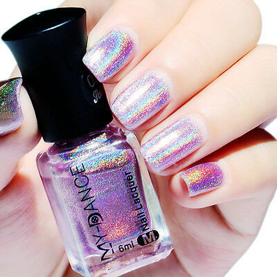 6ml Nail Polish Holographic Hologram Glitter Nail Art Varnish Tools Purple DIY