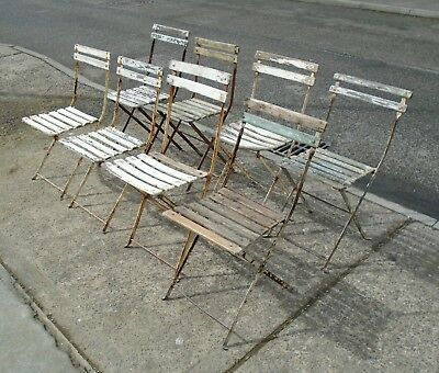 8 Vintage Folding Metal French Bistro Chairs + 2 Frames    Delivery Available