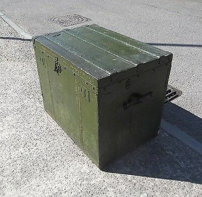 Large Military Style Vintage Trunk / Travel Chest     Delivery Available