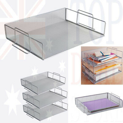 3 Tier S Mesh Stackable Letter Tray Desk Office File Document Organiser Holder