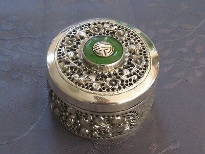 Solid Silver Xix° Chinese Export Silver Box Jade