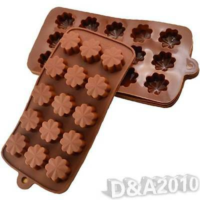 1*DIY Silicone Chocolate Muffin Pastry Mould Clover Pattern Ice Jelly Cube Tool