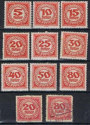 Austria 1920 Postage Dues to 80h Perf SG D384-92 Mint MH plus 2 used