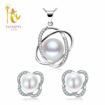 [NYMPH] Natural Pearl Jewelry Sets 925-Sterling-Silver Jewelry Trendy Real Fresh
