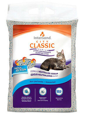 Intersand City Classic Unscented Clumping Cat Litter 15kg Damaged Bag