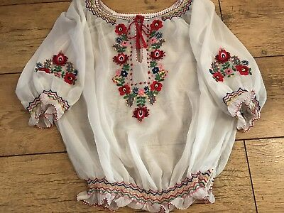 Vintage Original 1960/70's handmade Hungarian sheer  Peasant Embroidered blouse