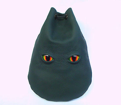 Dragon Eyes Green Leather Dice Rune Coin Pouch Bag  Sca Larp