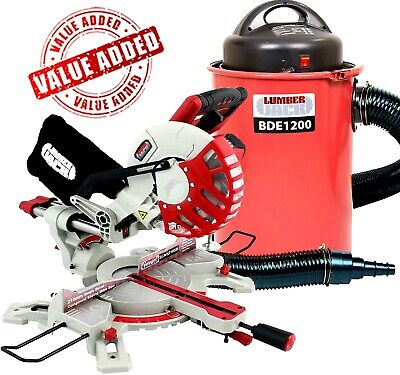 "Lumberjack 8"" Sliding Compound Mitre Saw & 50 Litre Dust Extractor Vacuum 240v"