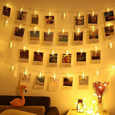 10/20 LED Photos Peg Clip Fairy String Light for Wedding Hanging Picture Decor