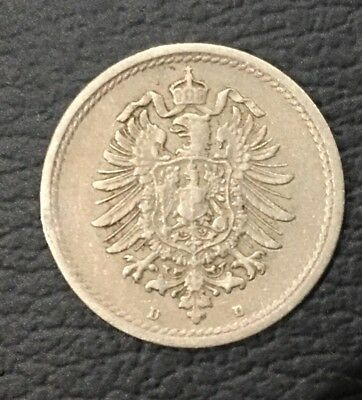 1876 Germany 5 Pfenning Coin Rare