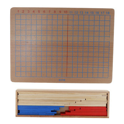 Wooden Montessori Addition Subtraction Board Kids Early Educational Toys Set