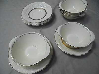 CROWN DUCAL FLORENTINE.  6 Soup/ dessert bowls.+ saucers to match.