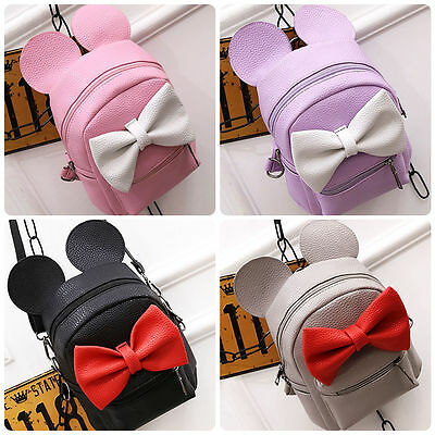 Minnie Mouse Bow Women Girls PU Leather Backpack School Shoulder Travel Tote Bag