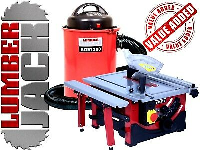 "Lumberjack 8"" Bench Top Table Saw & 50 Litre Dust Chip Extractor 240v"