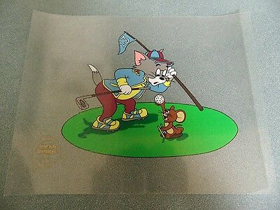 *VINTAGE* Tom and Jerry Playing Golf Animation Serigraph 1992 Turner Home Ent.