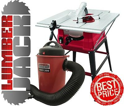 """Lumberjack 10"""" Table Saw with Stand & 50 Litre Dust Chip Extractor 240v"""