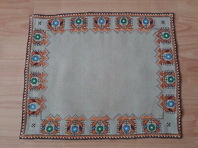 """ANTIQUE Vintage Hand Embroidery Ivory LINEN TABLE RUNNER rectangular 15""""x13"""""""