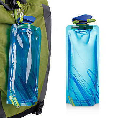 Foldable Drinking Water Bottle Bag Pouch Outdoor Hiking Camping Water Bag Blue