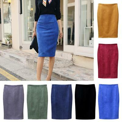 US Fashion Women High Waist Suede Pencil Skirt Stretch Bodycon Pure Midi Dress