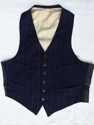 Vintage Wool Suit Vest Navy/Indigo Stripe Lined Ancher Clasp