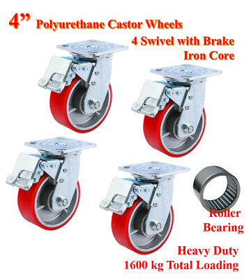 "4"" (100mm) Heavy Duty PU Castor Wheels, 4 Swivels with Brake, Trolley Caster"