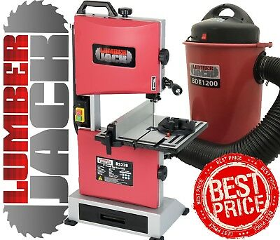 """Lumberjack Bench Top 9"""" Bandsaw & 50 Litre 1200w Dust Chip Extractor 240v"""