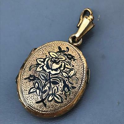 Antique Victorian GF Taille d'Erpagne Mourning Black Enamel Locket Pendant