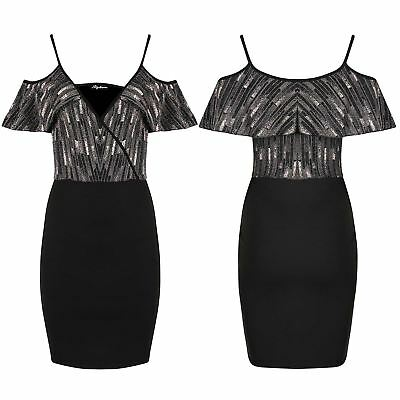 Ladies Front Wrap V Neck Glitter Strappy Bodycon Cold Shoulder Women Frill Dress