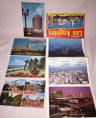 Vtg Collectible Lot -- DISNEYLAND Postcards + LOS ANGELES Panorama Fold-Out