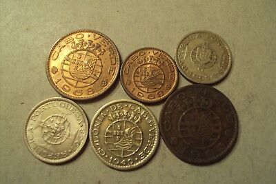 Portugal Cabo Verde 6 Differents Coins Lot