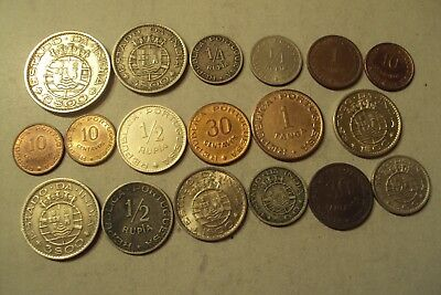 Portugal India 18 Differents Coins Lot