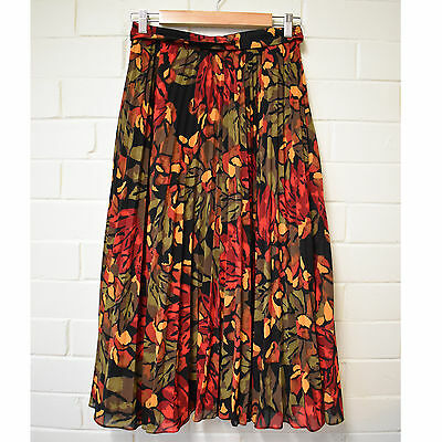 Beautiful Floral Botancial Print Pleated Midi Skirt DIO Size 10