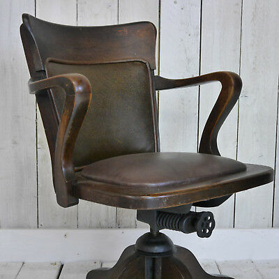 LOVELY STYLISH ANTIQUE OAK CAPTAIN'S CHAIR, Antique office bankers chair
