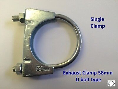 EXHAUST CLAMP, U BOLT 58mm Single clamp