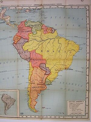 Vtg 1953 American Geo Series South American Wall Map Large Geography AJ Nystrom
