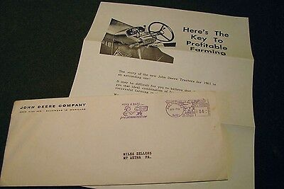 1961 John Deere Letter Envelope With Rare Demonstration Meter Postmark