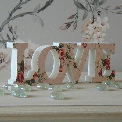 Vintage White Pink Floral Love Sign Plaque Decoration Letters Wedding Gift