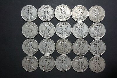 Roll of 20 -90% Silver Walking Liberty Half Dollars $10 Face Value FREE SHIPPING