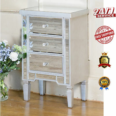 Venetian Bedside Table Mirrored Vintage Furniture Silver Glass Drawer Cabinet