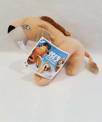 "Ice Age Sabre Tooth Tiger Continental Drift Plush Soft Toy 18cm/ 7 ""new nwt"