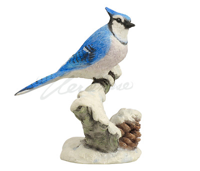 Blue Jay Bird On Snowy Branch Figurine Statue Sculpture  - GIFT BOXED